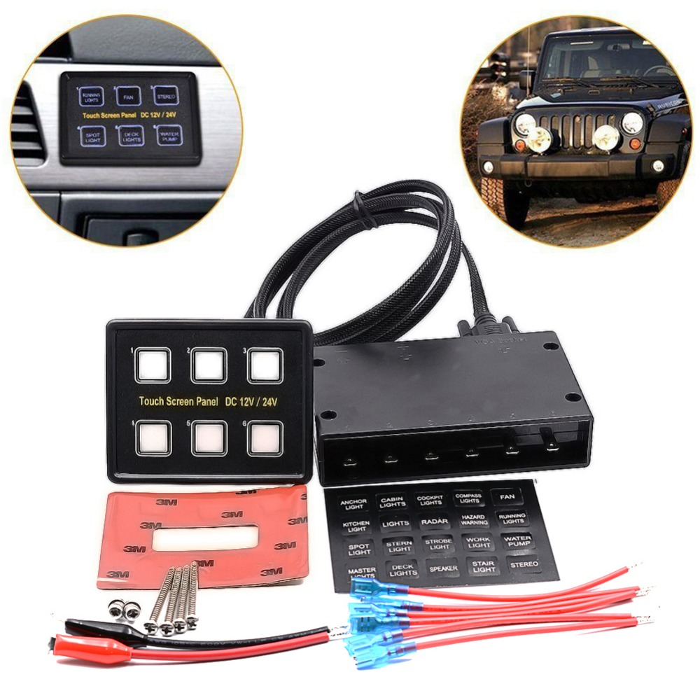 Slim Switch 12V/24V 6 Gang LED Touch Screen Control Panel Car Boat Truck Marine APR20_17 12v 24v 6gang blue led capacitive touch screen control switch panel box for car marine boat caravan yacht truck