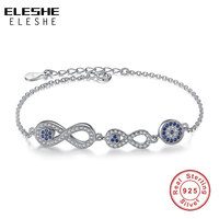 Original Jewelry 925 Sterling Silver Double 8 Cross Infinite Bracelet With Micro Pave Ocean Blue Crystal