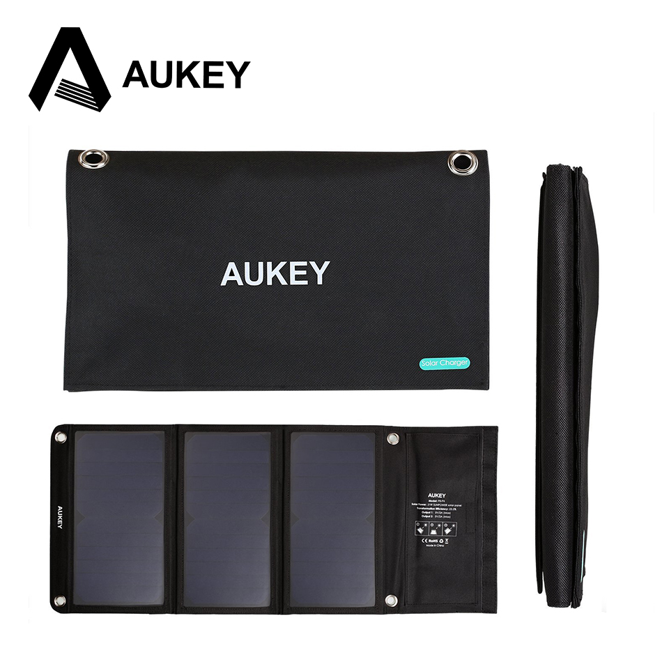 AUKEY Solar Charger ,Solar Panel with Dual USB Port for apple iPhone 6s 6 Plus, Android, Samsung, HTC, LG, Nexus,and More