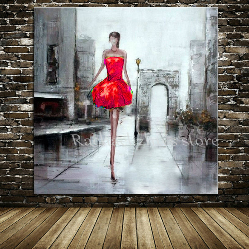 Hand Painted Modern Sexy Girl Oil Painting On Canvas Lady -4668