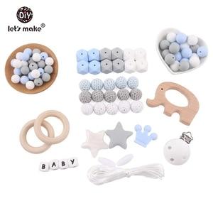 Image 3 - Lets Make accesorios para mordedores de bebé, cuentas de silicona, helado, Clip de madera para chupete de pájaro, joyería DIY, collar de dentición de enfermería