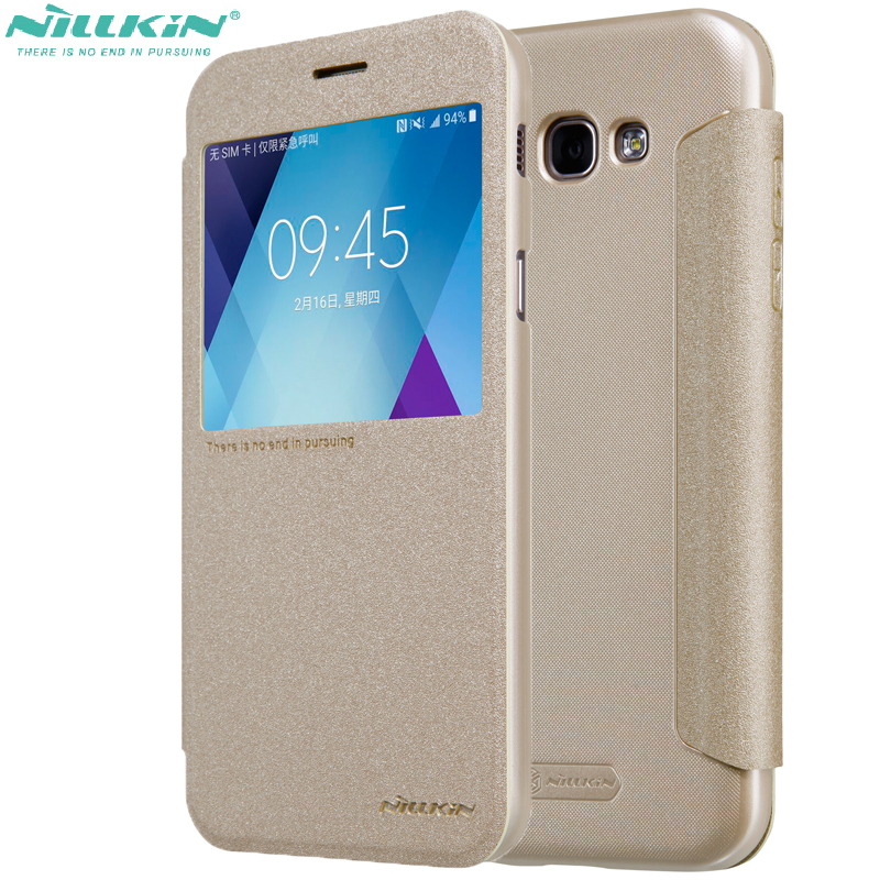 Leather Case For galaxy A5 2017 Nillkin Sparkle shockproof PU Flip Cover case For Samsung Galaxy