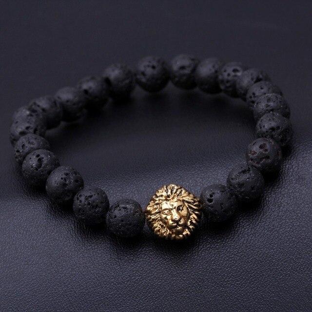 c876a5f5340 Tiger Eye Lion Head Bracelet Buddha beads Bracelets Natural Stone Bracelet  Men woman Jewelry crystal lava stone lion skeletons