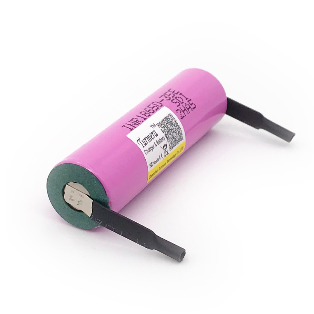 18650 battery inr18650 35e Turmera For samsung 18650 3500mAh 13A with strips for bike battery screwdriver battery