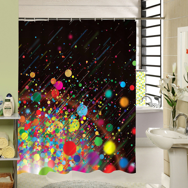 Colorful Dot Art Design Shower Curtain Fabric Polyester 3d Print Abstract Bath Window For Bathroom Decor Black