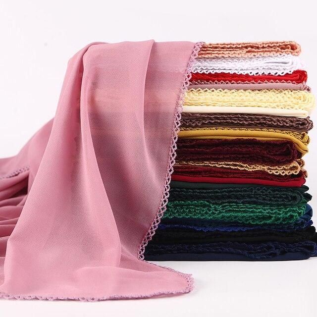10 pzas/lote burbuja chifón HIJABS bufanda moda mujer encaje bordes bufanda musulmán hijab abrigo largo chales velo