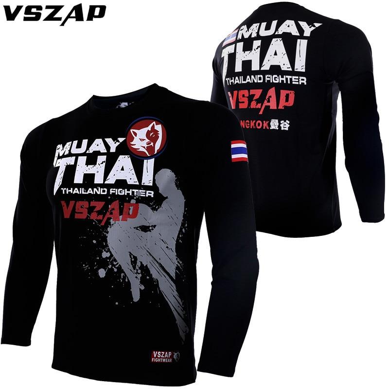 VSZAP MMA Boxing Sports Jersey Thai Boxing Fight Full Sleeve Casual Shirts Boxing Muay Thai Boxing Muay Thai Tights Mma