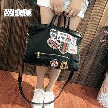 Summer fashion women handbags designer embroidery decoration oxford tote bags casual ladies purse black beach bag