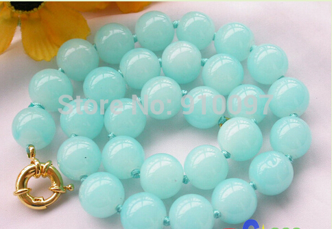 "free shipping HH Nature 17"" 12mm round azury jade bead necklace"