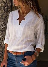 Large size Womens Blouse 2019 new fashion long-sleeved shirt solid color V-neck casual large womens