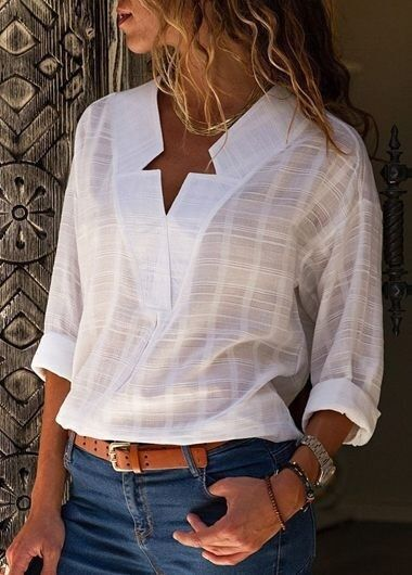 Large size Women's   Blouse   2019 new fashion long-sleeved   shirt   solid color V-neck casual large size women's   shirt