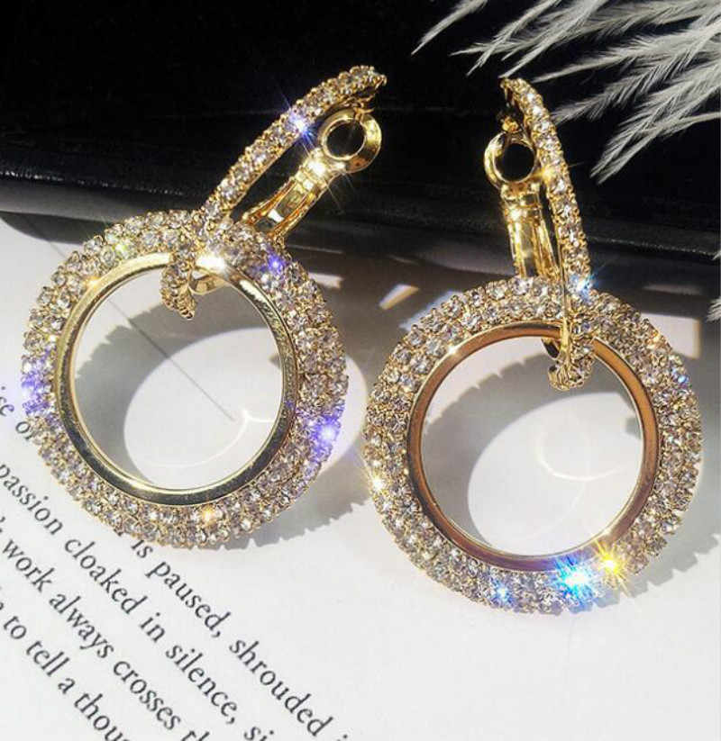 New design creative jewelry crystal earrings temperament personality gold and silver earrings exaggerated female ear jewelry