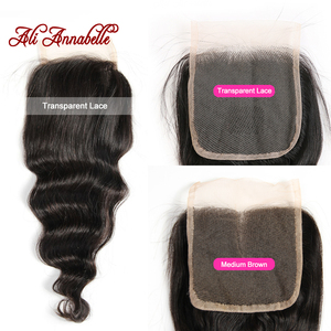 """Image 3 - ALI ANNABELLE HAIR Brazilian loose Wave Lace Closure Transparent Lace Medium Brown Remy Human Hair Closure Swiss Lace  10"""" 20"""""""