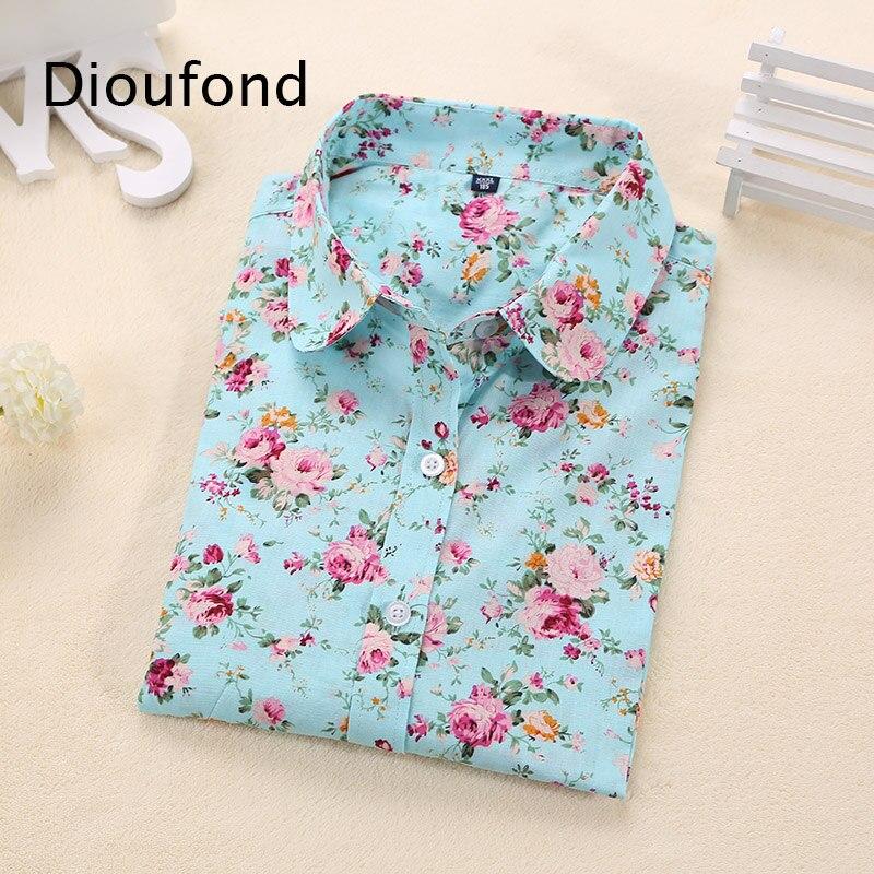 Dioufond Women Cotton   Blouses   Summer Cute Lemon Bird Print Long Sleeve   Blouse     Shirt   Woman Tops Plus Size 2018 New