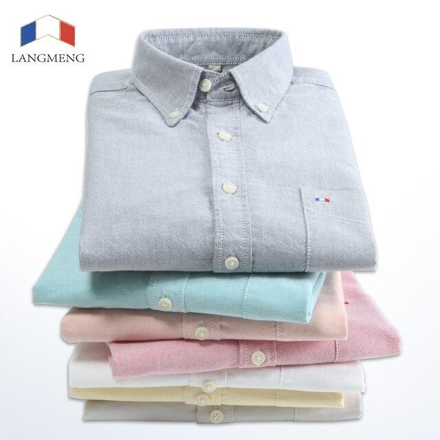 Langmeng atacado 2016 marca de moda casual outono camisa oxford manga longa camisas dos homens 100% algodão cor sólida camisas de vestido