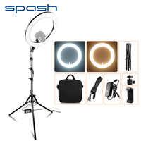 Spash RL-18A LED anillo luz 18 pulgadas anillo lámpara para maquillaje vídeo Youtube fotografía iluminación con trípode bicolor 3200 K-5500 K 55W