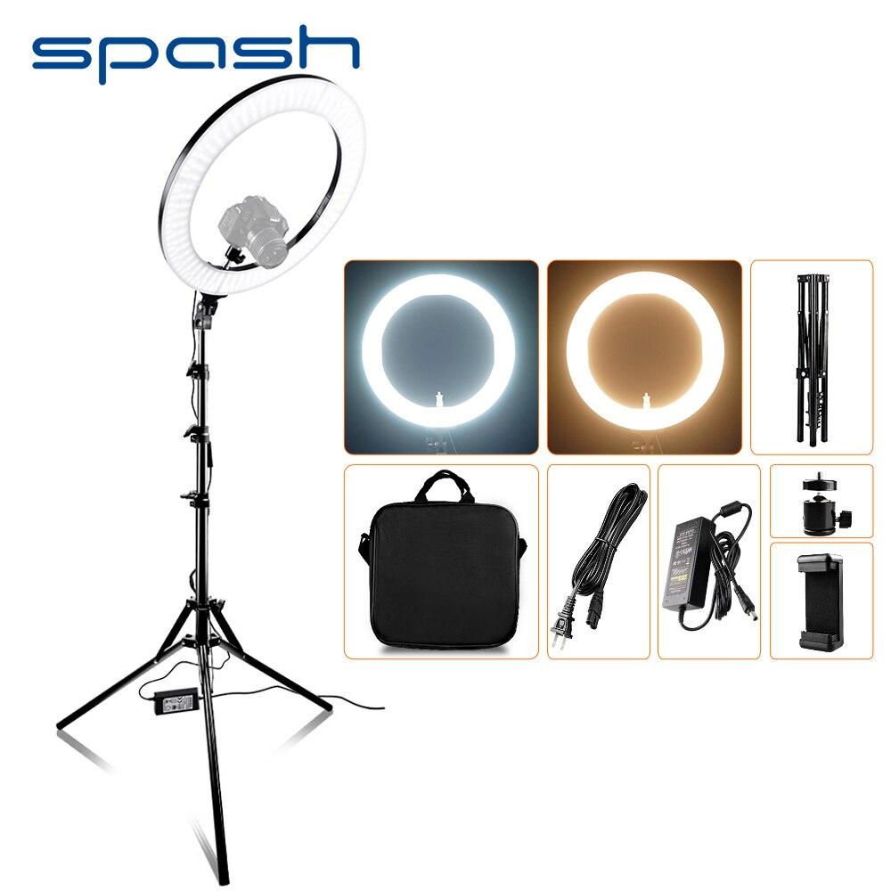Spash RL-18A led anel de luz 18 polegada anel lâmpada para maquiagem vídeo youtube fotografia iluminação com tripé bi-color 3200 k-5500 k 55 w