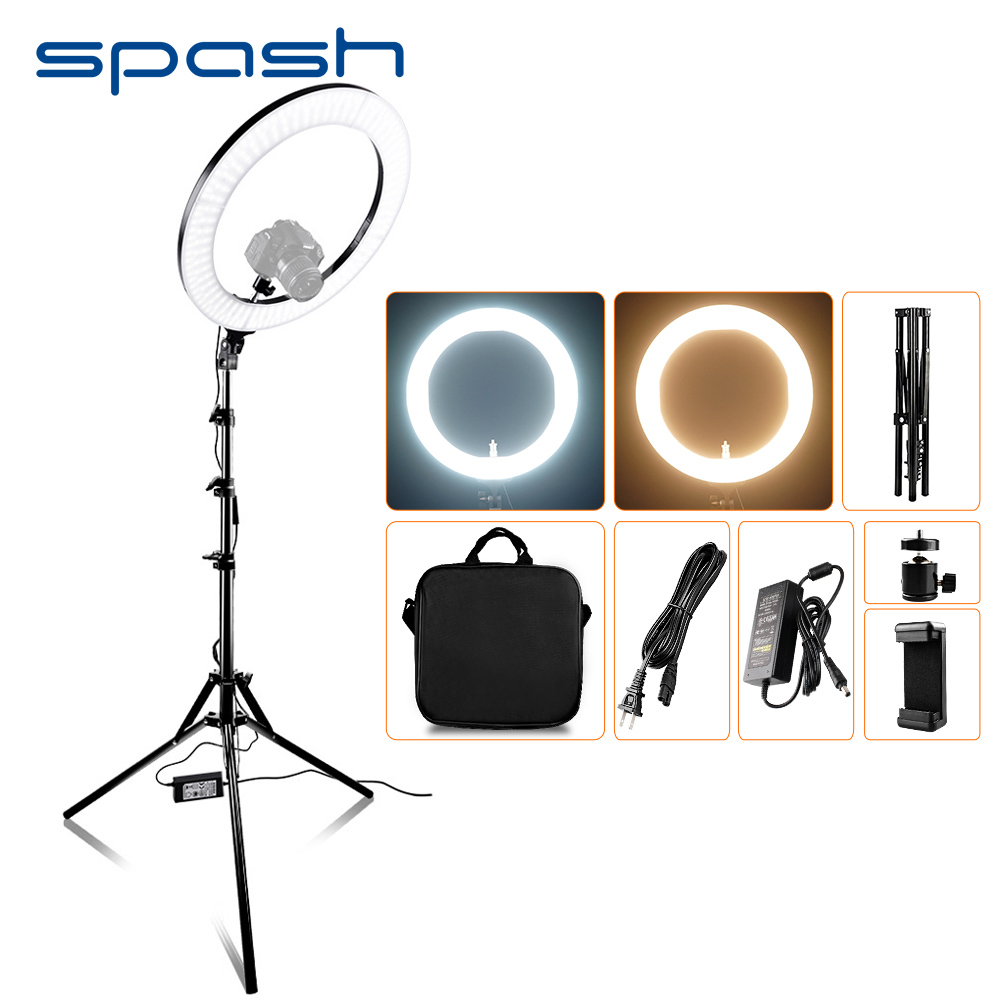 spash RL 18A LED Ring Light 18 inch Ring Lamp for Makeup Video Youtube Photography Lighting with Tripod Bi color 3200K 5500K 55W-in Photographic Lighting from Consumer Electronics