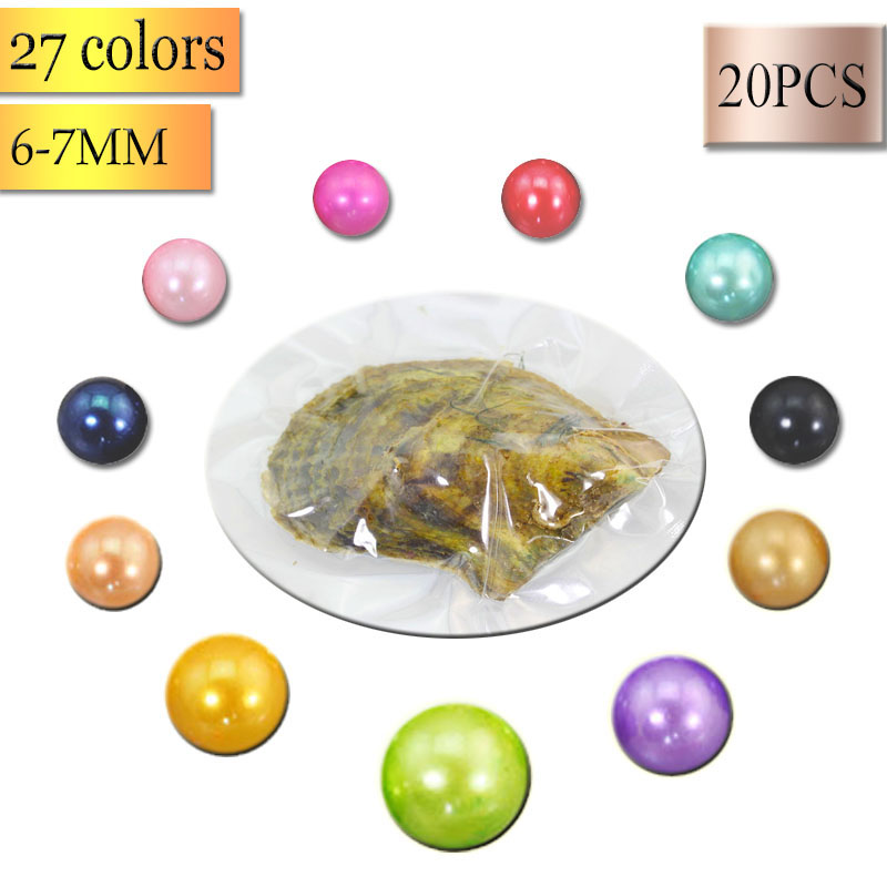 20pcs/Lot 6-7mm round Cultured Sea Pearl saltwater Oyster Jewelry Making Beads Mussel Shell 2018 Mixed Colors Gift AR002