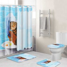Cute Cat Bathing Bathroom Polyester Shower Curtain Pedestal Rug Lid Toilet Cover Bath Mat Set Waterproof w/12 Hooks Bath Decor(China)