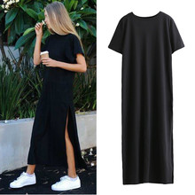 2018 New Fashion New Arrival ComfortWomen Sexy Side High Slit Black Short Sleeves Dress With high Qu