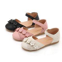 AFDSWG girls shoes summer leather beach kids pink low heels sandals black princess