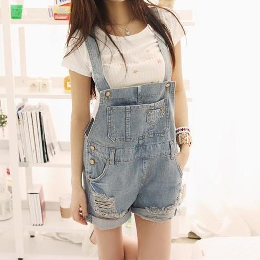 Macacão Demin moda coleção Moda Solta Macacão Jeans Buraco Mulheres Lolita Calções Moda Wash blue Jeans Plus Size S-XL