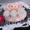Bella Fashion Flower Bridal Hair Comb Austrian Crystal Rhinestone Wedding Headpiece Small Side Comb For Women