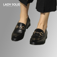 Lady Solid Women Slip On Loafers Genuine Leather Woman Flat Heel Pointed Toe Shoes Black Handmade