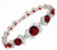 Jewerly Venta> bendiga Al Por Mayor nuevos llegan Hermosa incrustaciones de cristal rojo pulsera de cadena de joyería de moda # b1