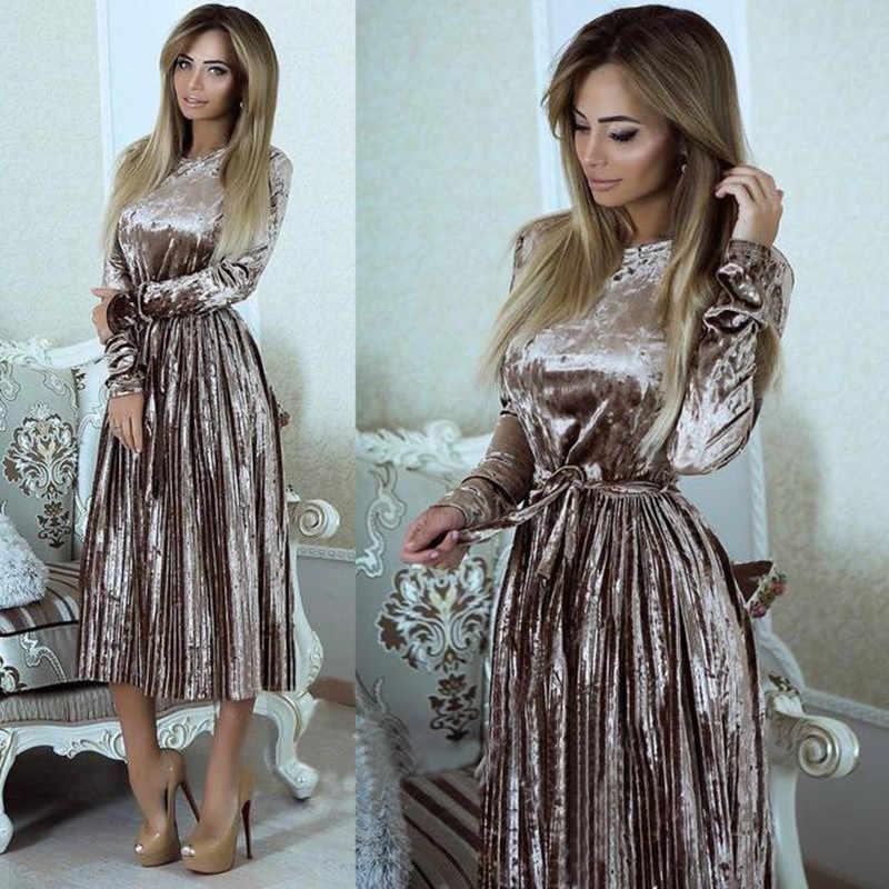 458d65e7d3b Danjeaner Women Spring Long Sleeve Vintage Velvet Dress Female Slim Pleated  Party Dresses with Sashes Maxi