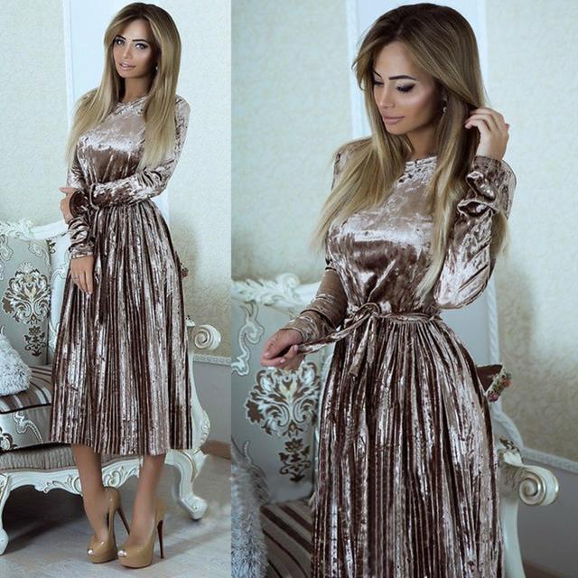 Danjeaner Women Spring Long Sleeve Vintage Velvet  Dress Female Slim Pleated Party Dresses with Sashes Maxi Dress Vestidos