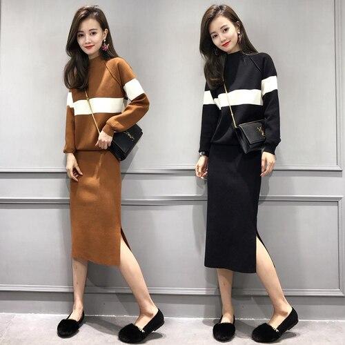 Plus Size 4xl Skirt Set Woman Suit Fashionable Year-old Female Costume  Conjunto Stylish Feminino Ensemble Femme Deux Pieces e844a8ad42ae