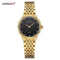 Women Lady Fashion Stylish Longbo Brand Watches Dress Gold Watch Stainless Steel Crystal Wrist Watch Clock