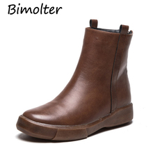Bimolter Women Winter Warm Ankle Boots Classic Vintage Platform Martin Boots British Style Students Casual Flat Shoes PAEB053