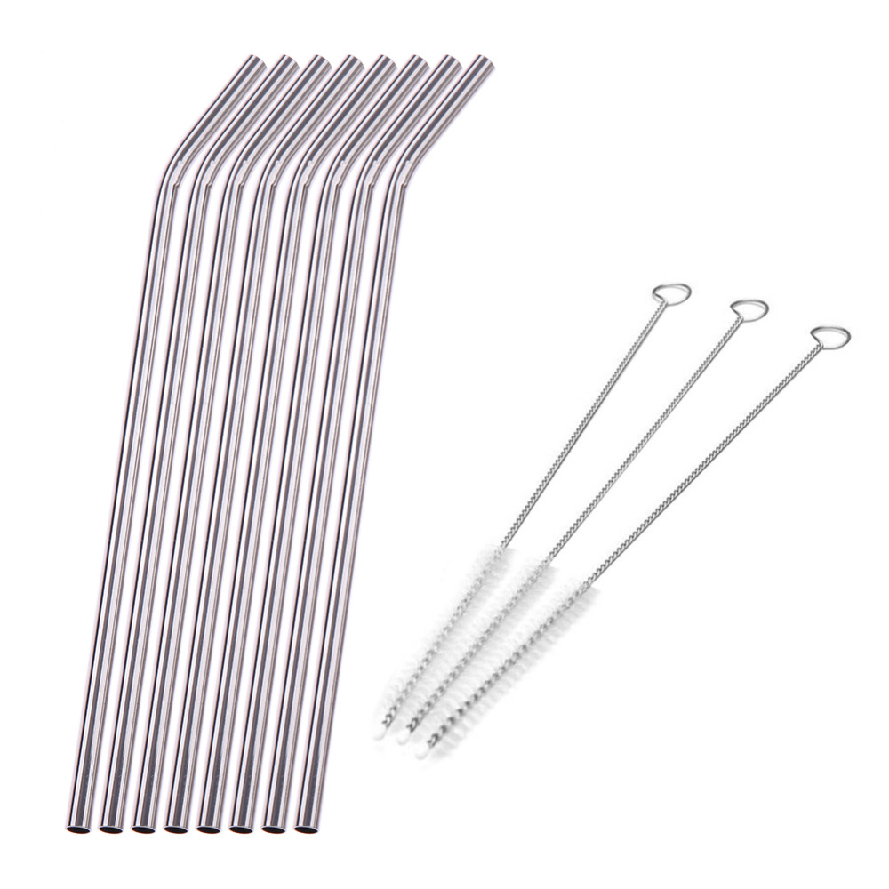 8Pcs/lot Reusable Drinking Straw in Stainless Steel with 3 Cleaner Brush