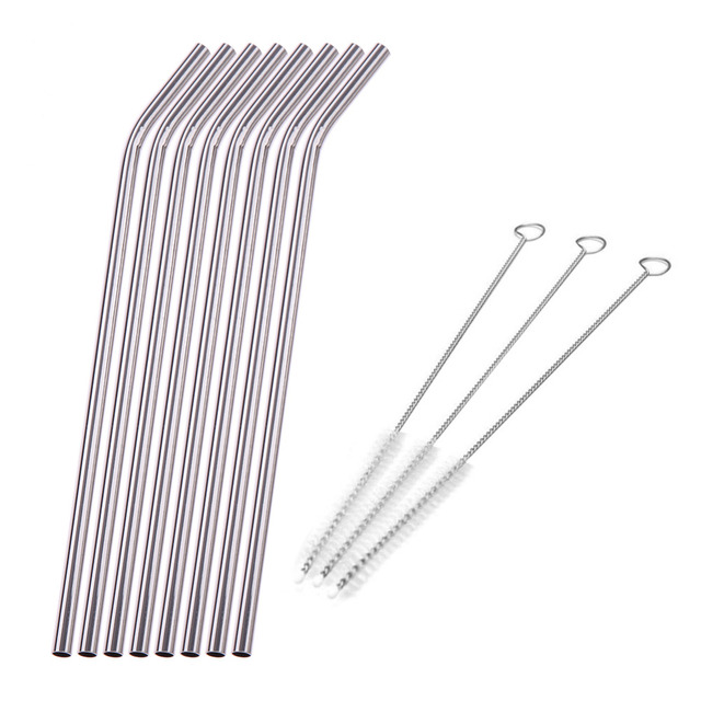 1-8Pcs/lot Reusable Drinking Straw Stainless Steel Metal Straw with 3 Cleaner Brush For Mugs Straws Home Party Bar Accessories