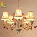 Iluminação lustre sala lustre da sala de jantar jardim de estilo Europeu-estilo ferro forjado flores de luz conduziu a lâmpada