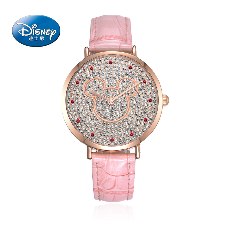 Preety Girl Mickey mouse beautiful charming crystal watch Unique Minnie bowknot fashion casual quartz watch 100% Genuine Disney promotion 6pcs mickey mouse 100