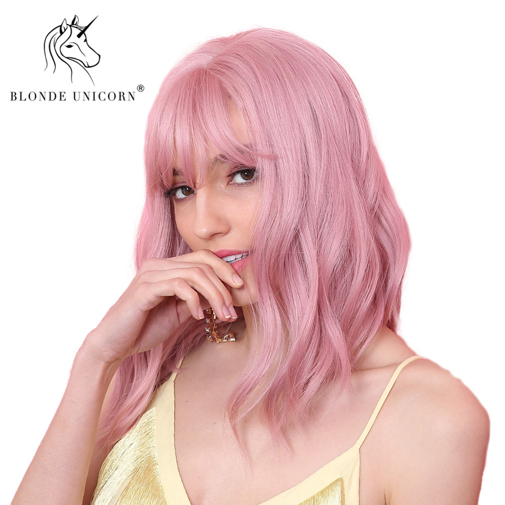 BLONDE UNICORN Synthetic 12 Inch Short Wavy Bob Wigs Cosplay Pink Wig For Women High Temperature Fiber