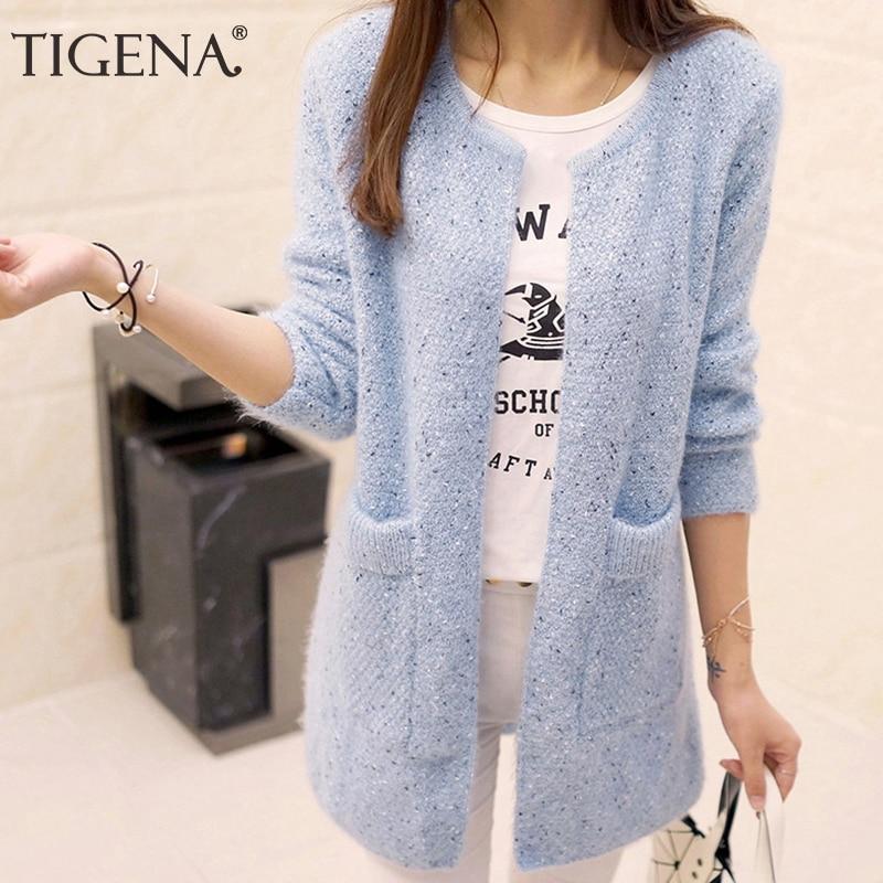 TIGENA Long Cardigan Female 2019 Spring Autumn Long Sleeve Crochet Cardigan Women Sweater Women Knitted Jacket Tops