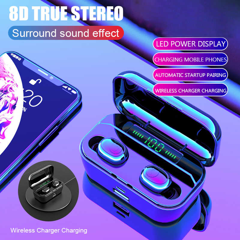 Bluetooth 5.0 Auricolare TWS Wireless Headphons Sport Vivavoce Auricolari 3D Stereo Gaming Headset Con Il Mic di Ricarica Scatola