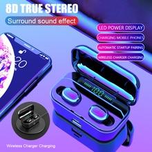 بلوتوث 5.0 سماعة TWS اللاسلكية Headphons الرياضة يدوي سماعات الأذن 3D سماعة رأس ستيريو للألعاب مع Mic شحن مربع