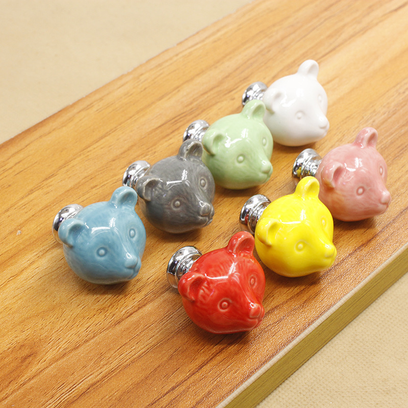 Ceramics Knobs Baby Children Lovely Pull Drawer Knobs Ceramic Handle Cabinet Drawer Shoe Wardrobe Handle Pull Single Pens candy color bear ceramic drawer handle for children lovely furniture fittings