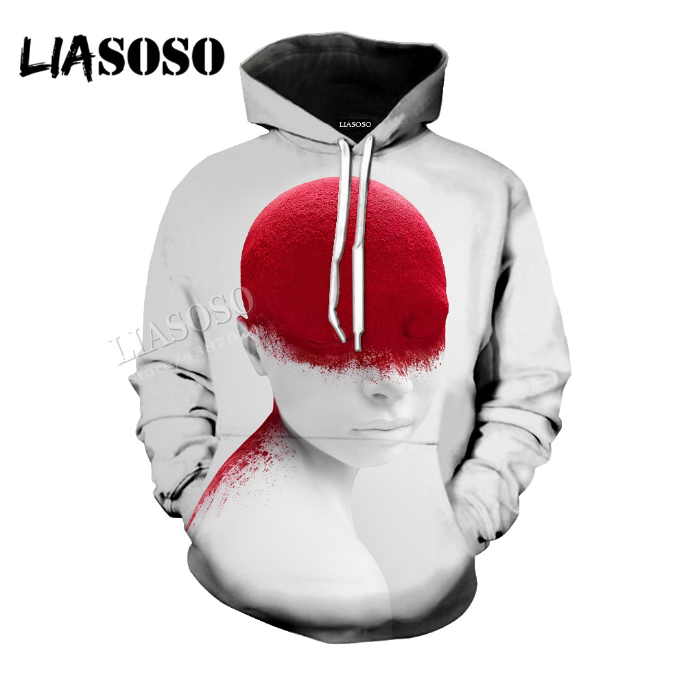 LIASOSO neutral minimalist high quality body art 3D printing abstract style shirt / hat coat / pullover / zipper hoodie CX048