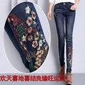 De alta qualidade bordado calça jeans feminina jeans slim Coreano moda estudante tamanho grande bordado calça jeans lápis