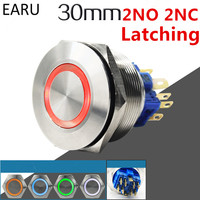 30mm 2NO 2NC Metal Stainless Steel Waterproof Latching Doorebll Bell Horn LED Push Button Switch Car
