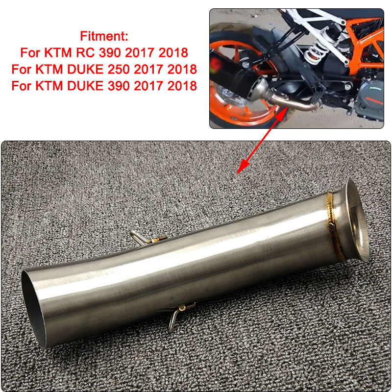 Motorcycle Exhaust Muffler Silencer Middle Link Pipe For KTM DUKE 390 250 Duke RC 390 RC RC390 2017 2018 17 Slip-on Brand New motorcycle rear brake master cylinder reservoir cove for ktm duke 125 200 390 rc200 rc390 2012 2013 2014