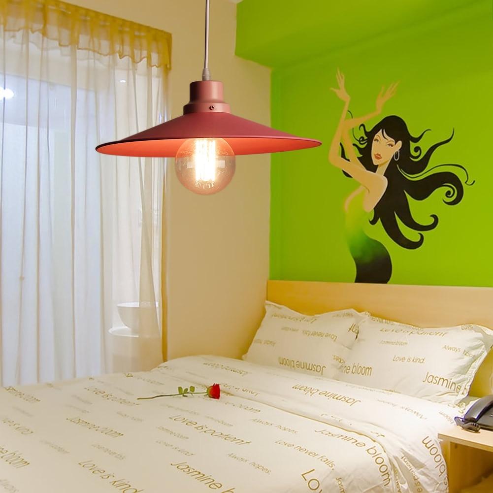 Bedroom hanging lamps - Cute Pink Iron Lid Pendant Light Lamp Kids Child Night Bedroom Hanging Lamps Girls Bedroom Deco Pendant Lights Droplight E27