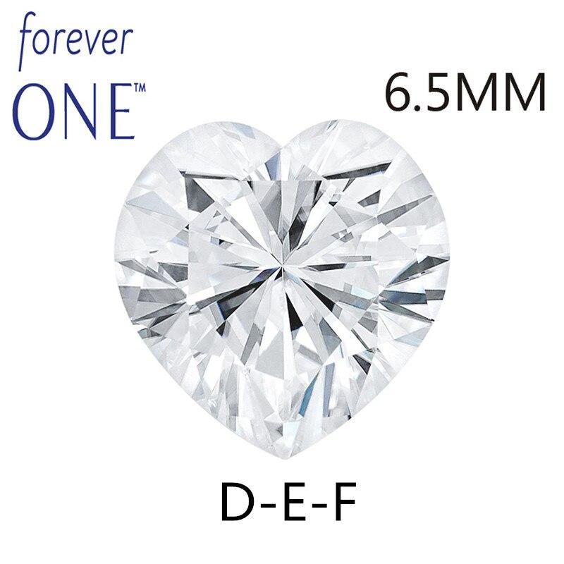 Charles Colvard Moissanite Lâche Pierres Coeur Brilliant Cut 6.5mm 1 Carat DEF Couleur VVS VS Test positif Lab Diamant pierres précieuses